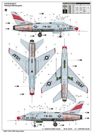 Trumpeter Plastikový model letadla F-100C Super Sabre
