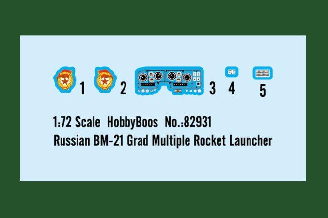 Hobby Boss Plastikový model raketometu Russian BM-21 Grad Multiple Rocket L