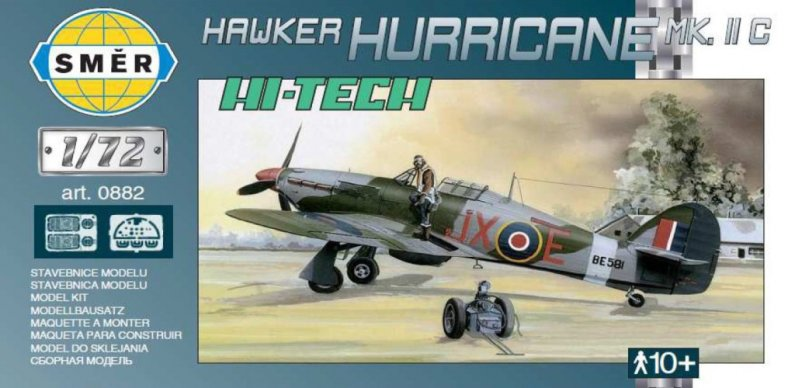 Směr Plastikový model letadla Hawker Hurricane MK. II C Hi-Tech