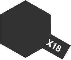 Tamiya Email Černá polomatná (Semi Gloss Black) X-18