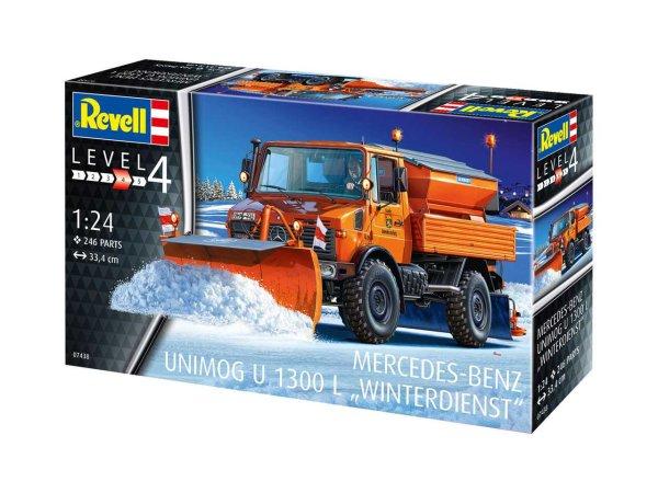 Revell Plastikový model kamionu Mercedes-Benz Unimog U1300L Winterdienst