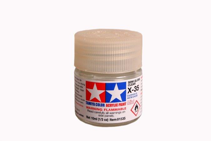 Tamiya Barva akrylová lesklá - Polomatný čirý lak (Semi Closs Clear) - Mini X-35