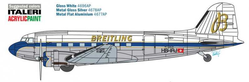 Italeri Model Kit letadlo 1393 - BREITLING DC-3