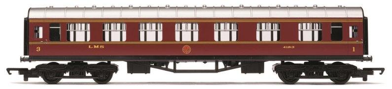 Hornby RailRoad - Vagón osobní - LMS Composite Coach - LMS Maroon