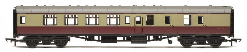 Hornby RailRoad - Vagón osobní - BR Mk1 Corridor Brake Second Coach - BR Crimson & Cream
