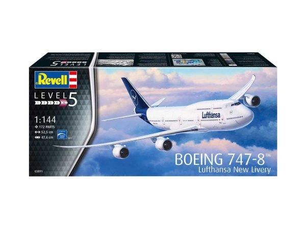 Revell Plastikový model letadla Boeing 747-8 Lufthansa New Livery